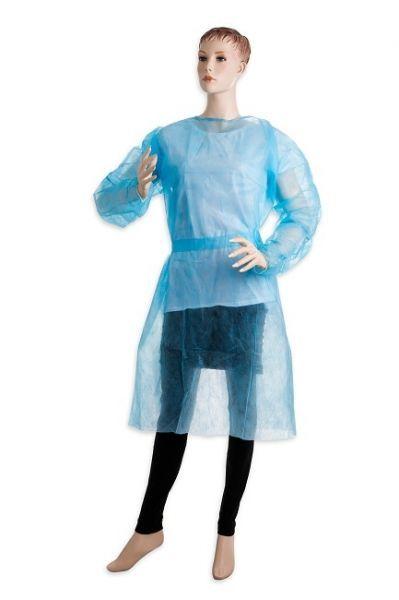 Jednorázový návštěvnický plášť 10 ks - modrý
