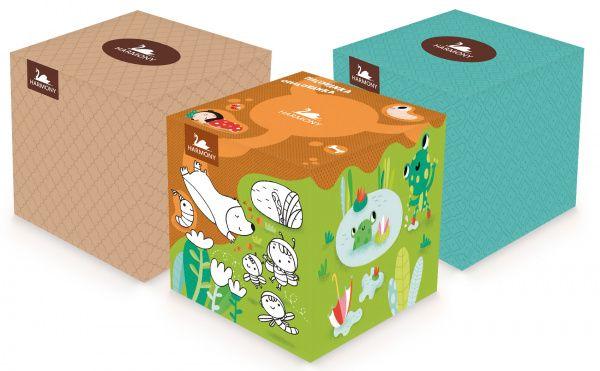 Harmony Cube Box kosmetické kapesníky 3-vrstvé 60 ks