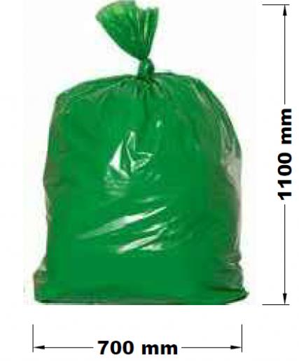 AllServices Pytel na odpad 120 l, role 25 ks, 700 x 1100, 40 um, zelený, LDPE
